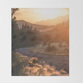 Rocky Mountain Sunset Throw Blanket