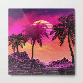 Pink vaporwave landscape with rocks and palms Metal Print