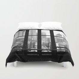 New York City Window Black and White Duvet Cover