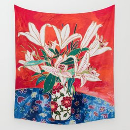Blush Lily Bouquet on Orange Wall Tapestry