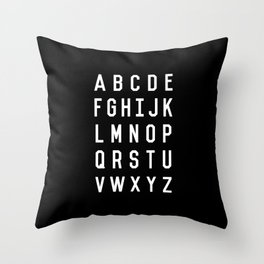 Alphabet Black and White Typography Design Poster with Monochrome Minimalist Letters Wall Decor Throw Pillow