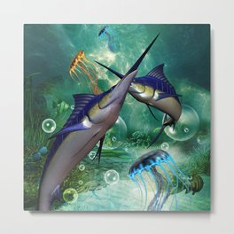 Awesome marlin with jellyfish Metal Print