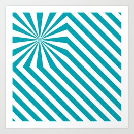 Stripes explosion - Blue Art Print