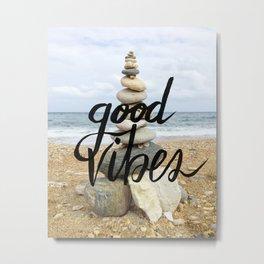 Good Vibes - Rock balancing Metal Print