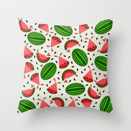 Juicy Watermelon Pattern on Green Background Throw Pillow