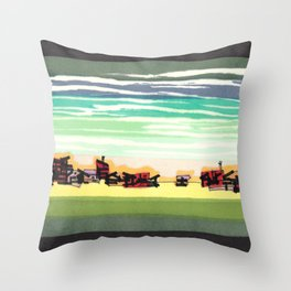 Railroad Town In The West Plains Of Nebraska 32 Throw Pillow