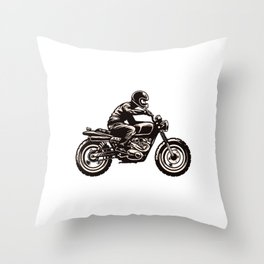 Hand Drawing Style Man Riding Scrambler Style Motorcycle Throw Pillow