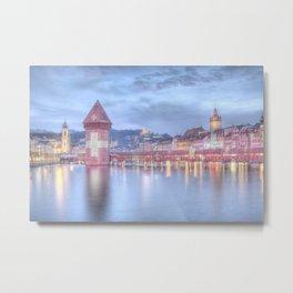 Lucerne Kappelbrücke Illumination Metal Print