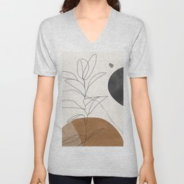 Abstract Art /Minimal Plant Unisex V-Neck