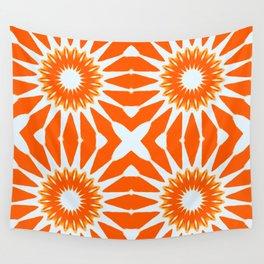 Orange Pinwheel Flowers Wall Tapestry