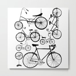 Bicycle Art Black and White - Bikes Metal Print