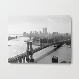 Williamsburg Bridge, East River at South Sixth St. & Twin Towers, New York City skyline photograph Metal Print