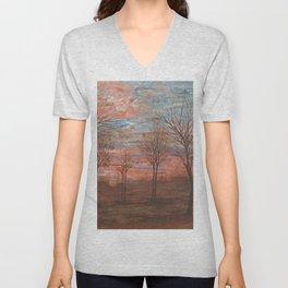 Autumn Skies in Pink Twilight landscape painting by Egon Schiele Unisex V-Neck