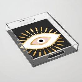 gold foil evil eye in blush Acrylic Tray