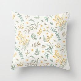 Australian wattle and eucalyptus watercolor floral Throw Pillow