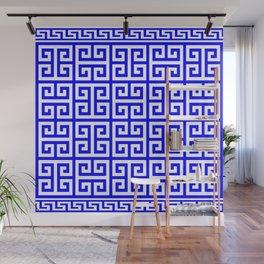 Greek Key (Blue & White Pattern) Wall Mural