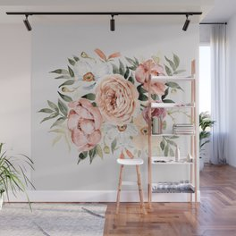 Muted Peonies and Poppies Wall Mural