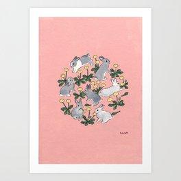 Bunnies love dandelions Art Print