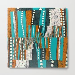 Teal and rustic brown abstract Metal Print