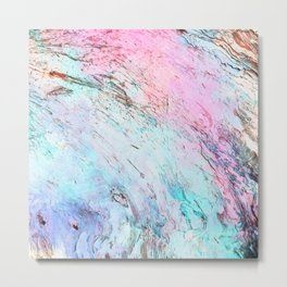 Abstract modern  pink teal lavender watercolor marble Metal Print