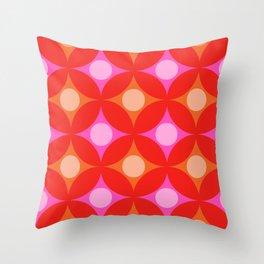 Circles Petals Pink and Orange Throw Pillow