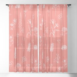 Patagonian wildflowers living Coral Sheer Curtain