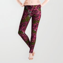 Pink and white chrysanthemum flowers and green bettles Leggings