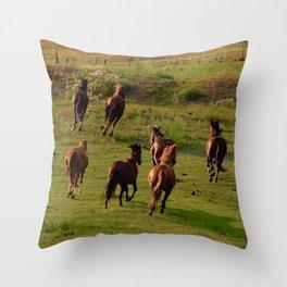 Galloping Mustangs Throw Pillow