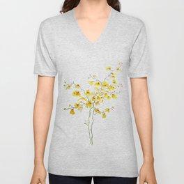 yellow Oncidium Orchid watercolor Unisex V-Neck