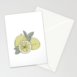 Botanical fruit illustration line drawing - Lemons Stationery Cards