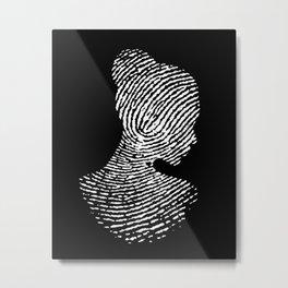 Fingerprint Silhouette Portrait Metal Print