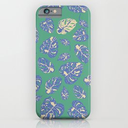 Variegated monstera, Monstera in green and blue iPhone Case