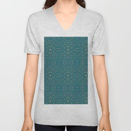 Medieval Scrolls  in Taupe & Turquoise By Danae Anastasiou Unisex V-Neck