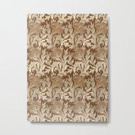 Jacobean Flower Damask, Brown and Taupe Tan Metal Print