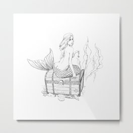 Mermaid and treasure Metal Print