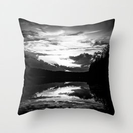 Sundown At Lake Heve 7 bw Throw Pillow