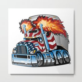 Patriotic American Flag Semi Truck Tractor Trailer Big Rig Cartoon Metal Print