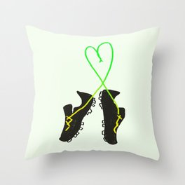 Green and Yellow Soccer Cleats with Heart Throw Pillow
