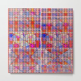 number 206 multicolored hearts pattern with orange Metal Print