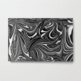 Black White Grey Marble Metal Print