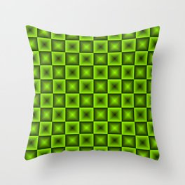 Chess tile of green rhombs and black strict triangles. Throw Pillow
