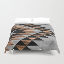 Urban Tribal Pattern No.10 - Aztec - Concrete and Wood Duvet Cover