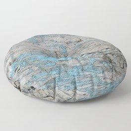 Peeled Blue Paint on Wood rustic decor Floor Pillow