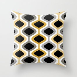 Mid Century Modern Rounded Diamond Pattern // Black, Gray, Gold, Butter Yellow // Version 2 Throw Pillow