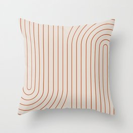 Minimal Line Curvature - Coral II Throw Pillow
