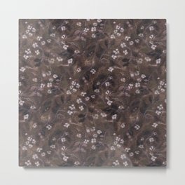 Apple Blossom, Floral Pattern, Faux Wool Texture, Sepia Brown Taupe Metal Print