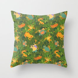 Froggy forest Throw Pillow