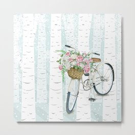 White Vintage bicycle in a Birch Forest Metal Print