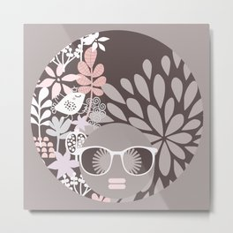 Afro Diva : Sophisticated Lady Pale Pink Peach Beige Metal Print