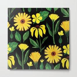 Yellow Summertime Sunflowers Metal Print